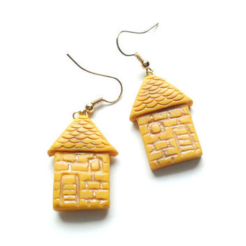 Polymer clay earrings little houses sunny yellow rich yellow distressed house shaped dangle earrings