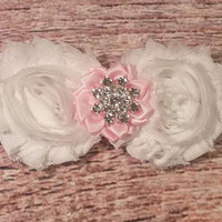 Beautiful Fancy White Pink and Silver Baby Girl Headband!-Beautiful Baby Headband-Newborn Headband-Infant Headband-Special Occasions-Hair