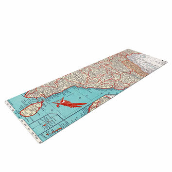 "Catherine Holcombe ""Travel To India"" Teal Red Yoga Mat"