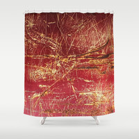 Rusted Gold and Red Abstract Landscape Shower Curtain by Minx267