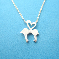 Flamingos Kissing Heart Shaped Silhouette Charm Necklace in Silver   DOTOLY