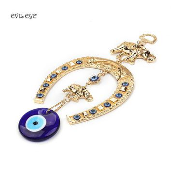 EVIL EYE Ethnic Style Blue Evil Eye KeyChain Hanging Wall Lucky Gold Elephant Keychain Decoration Jewelry Best Gifts For Friends