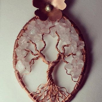 Cherry Tree of Life Pendant Cherry Blossom Necklace Copper Twisted Wire Metaphysical Tree Necklace Yggdrasil Celtic Tree Japanese Cherry