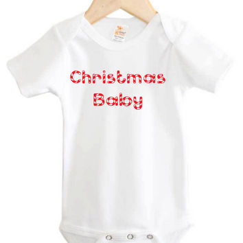 Christmas Baby Onesuit // Holiday Baby Clothing // Christmas time birthday // candy cane
