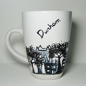 Long Distance, Durham, England Skyline Mugs w/ hearts Cityscape, Skydiver, Personalized Mug,
