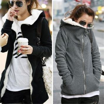 ZANZEA Plus Size Autumn Winter Women Hoodies Sweatshirts 2016 Fashion Zipper Up Thick Fleece Outwear Casual Coats Jackets