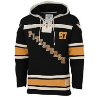 Men's Pittsburgh Penguins Old Time Hockey Black Vintage Logo Home Lace Heavyweight Hoodie