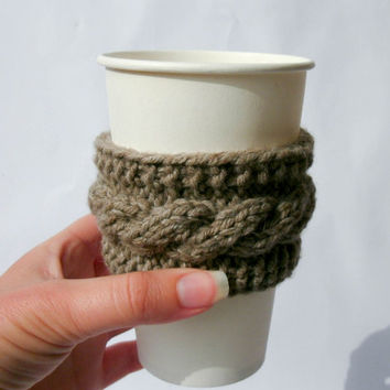 Knit coffee cup cozy Coffee sleeve Travel mug sleeve Coffee cup sleeve Cable knit coffee cup cozy Winter mood decor