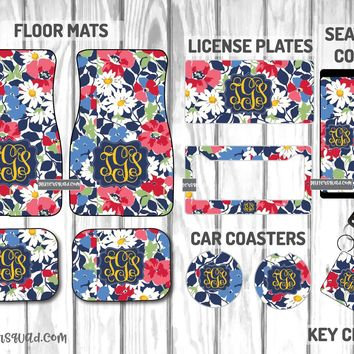 Vera Bradley Cottage Flowers Car Mat /Plate & Frame / Seat belt cover / Key Chain / Car Coaster / Car Accessory Gift  Set