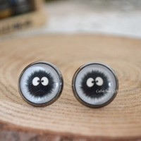 Soot Sprite earrings,Anime Spirited Away earrings, Miyazaki Hayao stud earrings,cabochon ear stud earrings (E25)