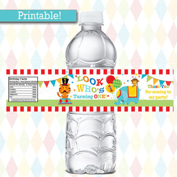 Fisher Price Circus Birthday WATER BOTTLE labels Instant Download | 1st Birthday Carnival Party, Printable | Water Bottle wraps