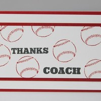 Thanks Coach Red Baseball Hand Made Thank You Card