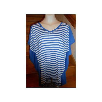 Faded Glory Women's Short Sleeve Embellished Dolman Top, Blue Stripe, 3X