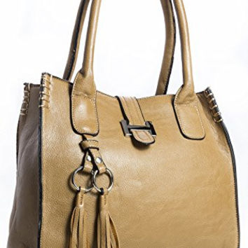 Big Handbag Shop Womens Faux Leather Medium Size Satchel Bag