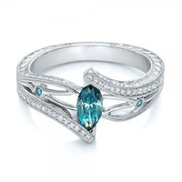 Sterling Silver Aquamarine White Topaz Ring