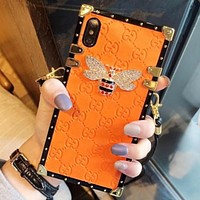 GUCCI New fashion diamond bee more letter couple lanyard protective case phone case