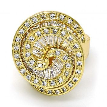 Gold Layered Multi Stone Ring, Spiral Design, with Cubic Zirconia and Micro Pave, Golden Tone