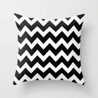 Chevron Black & White Throw Pillow by BeautifulHomes | Society6