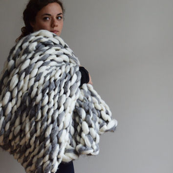 Chunky Knit Blanket - Alpaca and Merino Hand Knit Throw