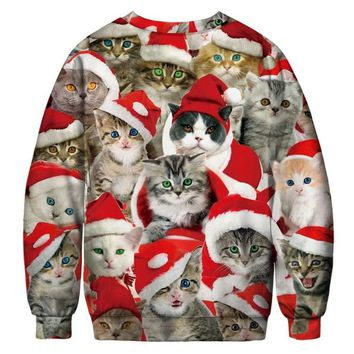 Fashion Christmas Sweatshirt Women/men Long Sleeve O-Neck 3D Digital Print Cats Pattern Pullover Xmas Sweatshirt