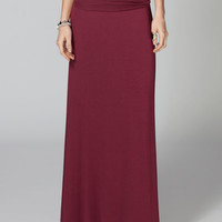 Full Tilt Fold Over Waist Maxi Skirt Burgundy  In Sizes