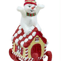 Glass Snowman On Gingerbread House - Ready-to-hang On A Gold Cord