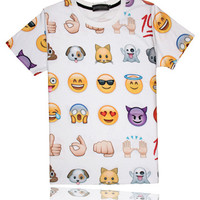 White Emoji Print Short Sleeve T-Shirt
