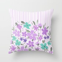Floral Spring and Stripes Lavender Throw Pillow by Lisa Argyropoulos
