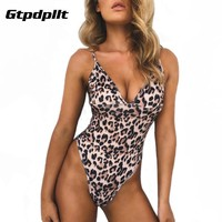 Gtpdpllt Sexy Leopard Bodysuits Women Summer jumpsuits romper beach overalls women Bodycon Playsuits backless party playsuit