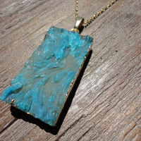 Turquoise Agate Rough Crystal Cut Gold Pendant Necklace/Dark Turquoise/Teal/Deep Aqua/Long Bar Shape