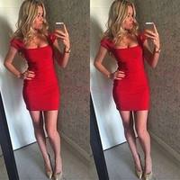 Stylish Lady Women's Cocktail Evening Party Ball Prom Formal Short Sleeve Sexy Mini Dress = 1946435396