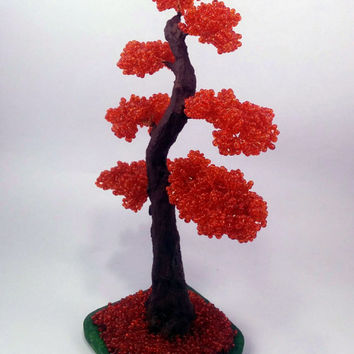 Red beaded bonsai, Bonsai chokkan, Miniature Plants, Wire tree art, gift for you, women day gift, red tree, bonsai for sale