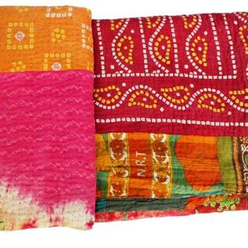 Indian Old Twin Vintage Reversible Kantha Quilt Handmade Cotton Kantha Throw Handmade Blanket cotton Reversible Kantha  Bedspread 113