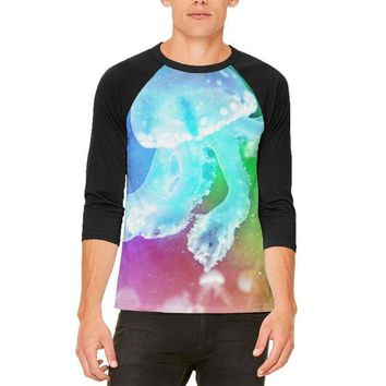 DCCKJY1 Squishy Baby Jellyfish Rainbow Mens Raglan T Shirt