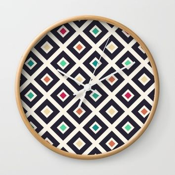 Modern Trendy Geometric Patter in Fresh Vintage Coffee Style Colors Wall Clock by Badbugs_art
