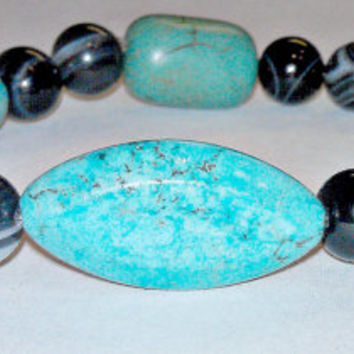 "Men's Zen Bracelet: Turquoise And Onyx ""Authentic And True"""