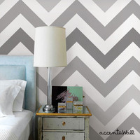 Chevron Cool Grey Peel & Stick Fabric Wallpaper Repositionable