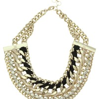 Kardashian Kollection Chain & Wrapped Ribbon Collar