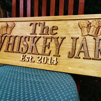 Personalized Wood Sign Bar Pub Beer Mug Wedding Gift Poker Groomsmen Anniversary Custom Carved Cabin Décor Established House Engraved Plaque