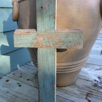 Rustic Wood Cross Cypress Easter Gift Country Cottage 100 Year Old Wood Rustic Wedding  Chippy Paint Primitive Beach Home Easter