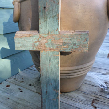 Rustic Wood Cross Cypress Easter Gift Country Cottage 100 Year Old Wedding Chippy Paint