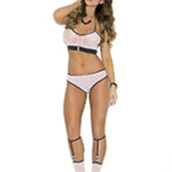 Three piece set. Opaque cami top, booty shorts with ruched back and matching knee hi's.