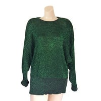 Christmas Sweater Women 80s Sweater Green Sweater Sparkle Sweater 1980s Sweater Shoulder Pad Tacky Christmas Sweater Ugly Christmas Sweater