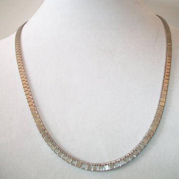 Vintage Monet Flat Square Link Necklace Silver Tone Costume Jewelry