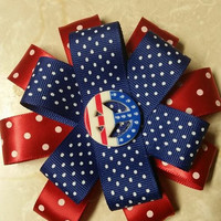 Sale! Sale! Patriotic Flower Loopy Hair Bow. Peace Sign. Barrette Clip.