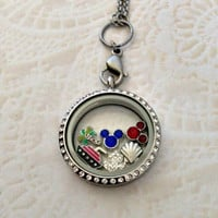 Disney cruise line inspired living locket stainless with your choice of chain and Mickey birthstones
