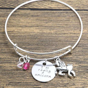 Unicorn bracelet necklace . I'm Really A Unicorn Silver tone crystals.  Unicorn gift bangle necklace