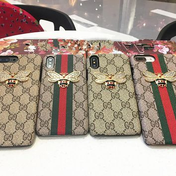 """Gucci"" Temperament Retro GG Metal Diamond Bee iPhoneX/8/6S Leather Phone Case iPhone 7 Plus Apple Phone Hard Shell"