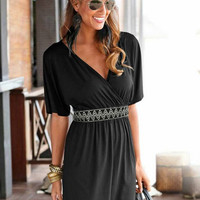 Black Elastic Waist Deep V-Neck Dress