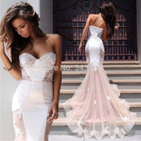 Vestido De Festa Sweetheart Off Shoulder Elegant See through Lace Long Prom Dresses 2015 P3164 Mermaid Evening Party Dresses
